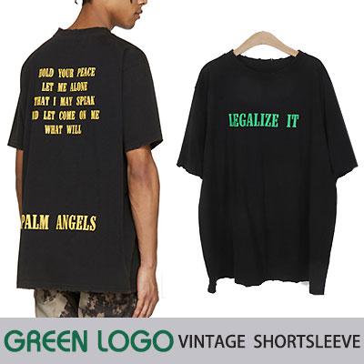 グリーンロゴヴィンテージショートスリーブTシャツ(ブラック)/半袖