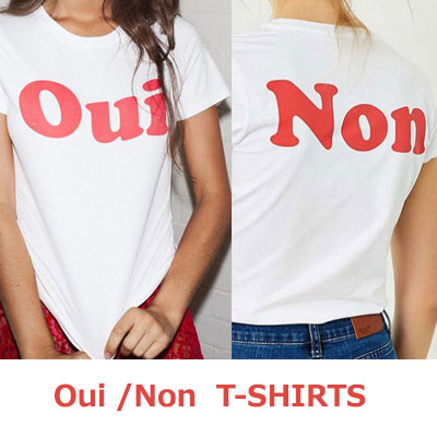 【FEMININE : BLACK LABEL】OUI-NON プリントTシャツ(ホワイト - レッド/ホワイト - フレンチ)/半袖