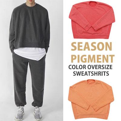 KANYE SYTLE! HIGH QUALITY シーズンピグメントカラーオーバーサイズスウェットシャツ(PINK/ORANGE/CHARCOAL)