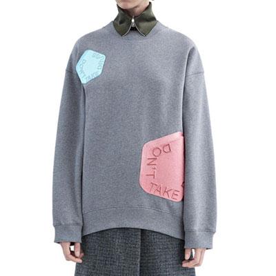 ハイクオリティ★ACスタイルマルチ刺繍パッチルーズフィットスウェットシャツ(Black)