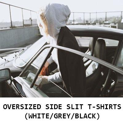【FEMININE : BLACK LABEL】 オーバーサイズのサイドスリットフーディー(ブラック/グレー/ホワイト)