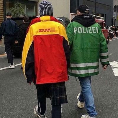 ユニフォームパロディオーバーサイズのフードジャケット