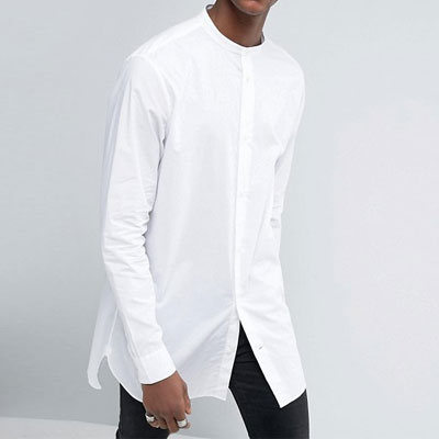 ホワイトチャイナネックアンバランスロングシャツ