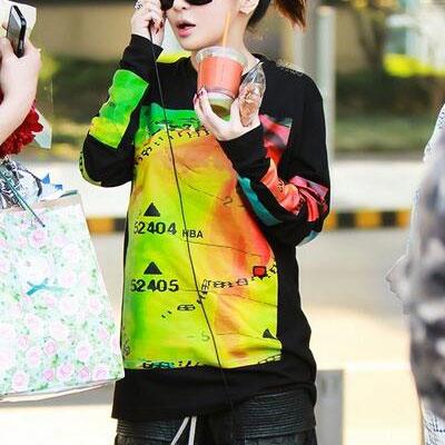 テレビ プログラム「ルームメイト」2NE1のパクボム、シンファのイミンウが着用したHB* st.カラーペイント長袖(2color)