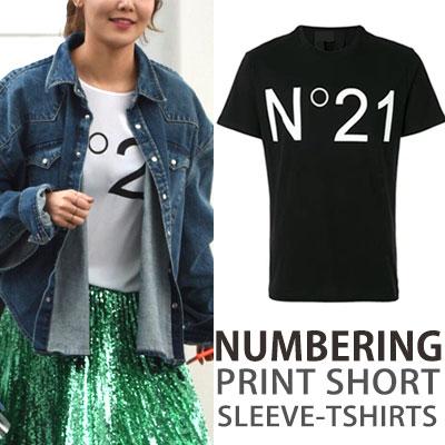 JiChangWook 少女時代 Yoona SooYoung st.ナンバリング21プリントショートスリーブTシャツ/半袖