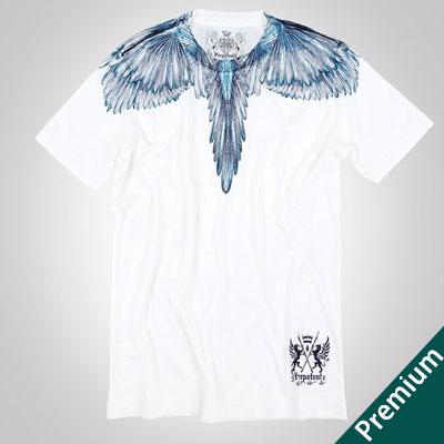 [Premium]ブルーフェザープリントショートスリーブTシャツ/半袖