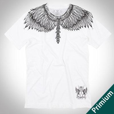 [Premium][Unisex]ドローイングフェザープリントホワイトショートスリーブTシャツ/半袖