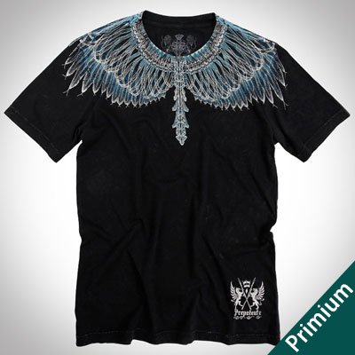 [Premium][Unisex]ドローイングブルーフェザーブラックショートスリーブTシャツ/半袖