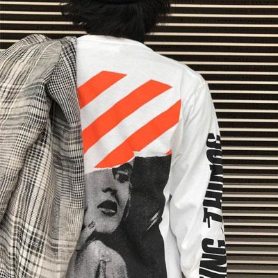オレンジダイヤゴナルラインズロングスリーブTシャツ(L/XL)