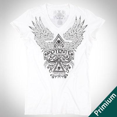 [FEMININE][COTTON100%]40フライススペースウィングプリントホワイトショートスリーブTシャツ