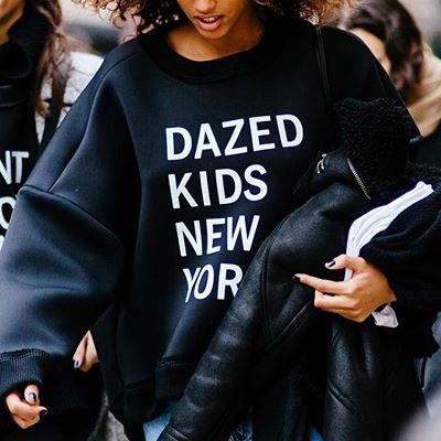 【FEMININE : BLACK LABEL】DAZED KIDS NEW YORK プリントネオフランスウェットシャツ