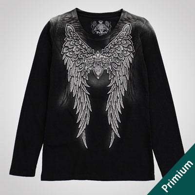 [FEMININ][COTTON100%][16フライス綿]ダガー&ウィングス ブラックTシャツ/オリジナリティあふれるウーマン長袖Tシャツ