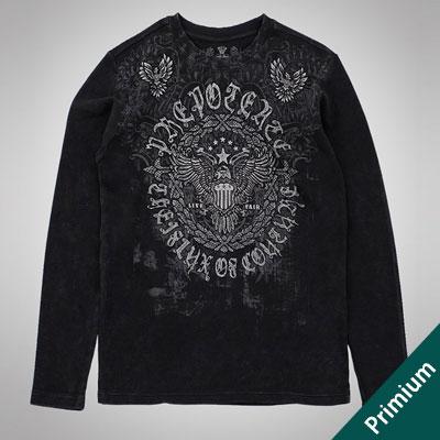 [PRIMIUM][Unisex] イーグルクラシックロゴブラック長袖Tシャツ/ワッフル綿素材[M,L,XL][WAFFLE COTTON100%]