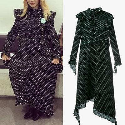 【FEMININE】フリルトリムポルカドットドレス(ブラック/ネイビー)