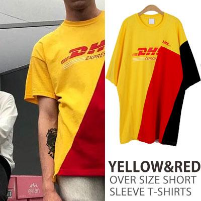 イエロー&レッドオーバーサイズショートスリーブTシャツ