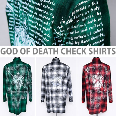 [unisex]死神&レタリングタータンチェックシャツ(3color)