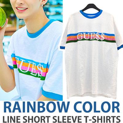 [UNISEX] wanna one Yoon JiSung st. レインボーカラーラインショートスリーブTシャツ/半袖