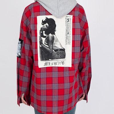[unisex]フォトパッチオーバーサイズチェックシャツ(2color)
