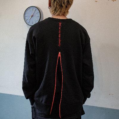 【2XADRENALINE】ジッパーバックポイントスウェットシャツ - ブラック