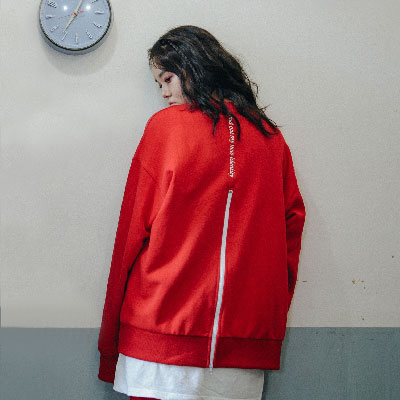 【2XADRENALINE】ジッパーバックポイントスウェットシャツ - レッド