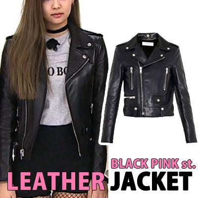 (Ladies size)BLACK PINK Jennie協賛, EXOGD st.サイドポケットレザーライダージャケット(3size)