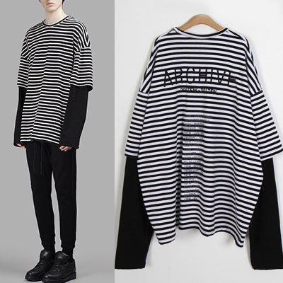 [UNISEX] バック刺繍ロゴレイヤードストライプTシャツ