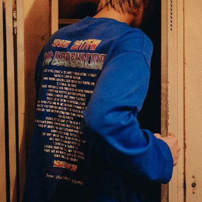 【2XADRENALINE】バックプリントロングスリーブTシャツ/ブルー