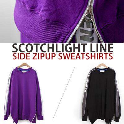 [UNISEX] スコッチライトラインサイドジップアップスウェットシャツ(2color)