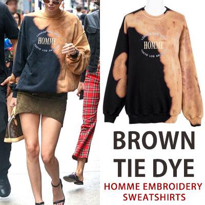 [UNISEX] Kendall Jenner st.ブラウンhomme刺繍スウェットシャツ