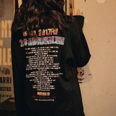 【2XADRENALINE】バックプリントロングスリーブTシャツ/ブラック