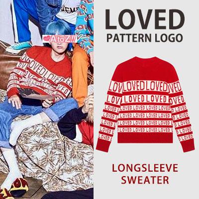 [UNISEX] BTS DNA [M/V] SUGA st. LOVED パターンのロゴロングスリーブセーター (2color)
