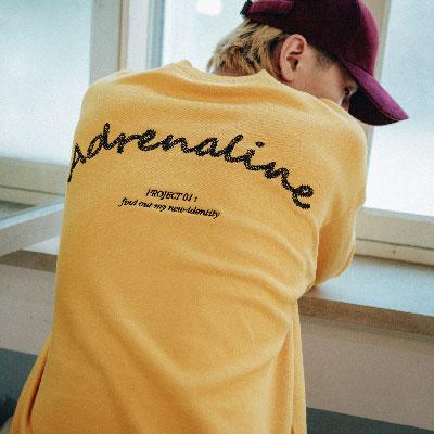 【2XADRENALINE】チェーンバックポイントスウェットシャツ/マスタード