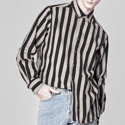 [UNISEX] アーバンストライプベージュ&ピンクのシャツ(2color)