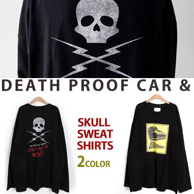 [UNISEX] DEATHPROOF&スカルプリントスウェットシャツ(2color)