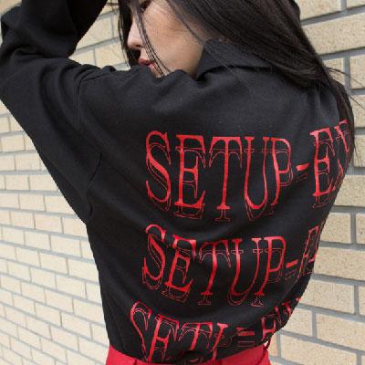 [SETUP-EXE]ジッパーセットアップTシャツ - レッド