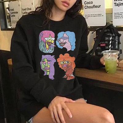 [UNISEX] レインボーヘアキャラクタースウェットシャツ(3color)