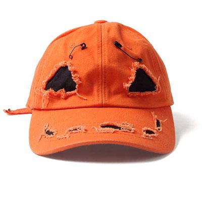 [UNISEX] SANDARA st/ハロウィン/パンプキン/オレンジパンプキンダメージキャップ