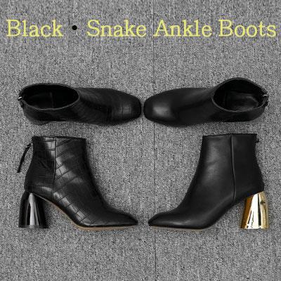 【RANG SHE】[22.5~25.0cm]ブラックスネークアンクルブーツ(2color)