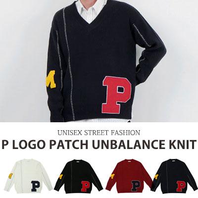 [UNISEX] P ロゴのパッチアンバランスニット(4color)