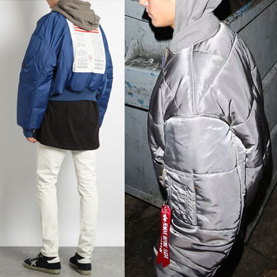 [UNISEX] Justin Bieber/Rihanna st.星条旗プリントリバーシブル MA-1(grey+blue)