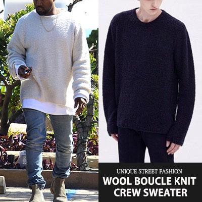 [UNISEX] ウール80%混紡で冬まで暖かく~/Kanye West/Dre st/ ウールブークレニットクルーセーター(3color)