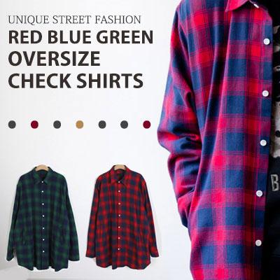 [UNISEX] レッド・ブルー・グリーンオーバーサイズチェックシャツ(2color)