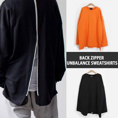 [UNISEX] 後ろジッパーオーバーサイズアンバランススウェットシャツ(2color)