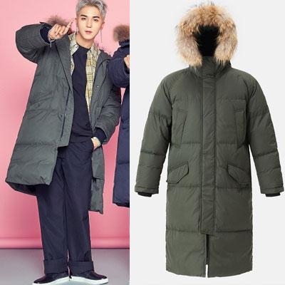 [8seconds][リアルラクーンファー]WINNER style!ロングダックダウンカーキジャケット/SongMiNo/KangSeungYoon/KimJinWoo/LeeSeungHoon