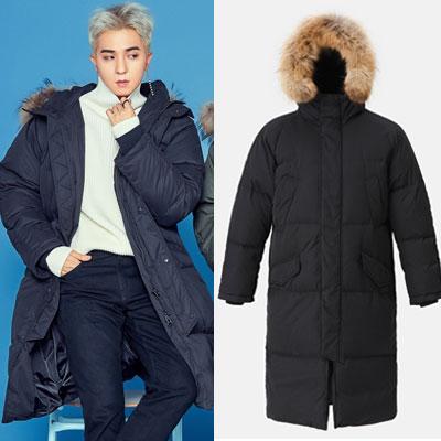[8seconds][リアルラクーンファー]WINNER style!ロングダックダウンブラックジャケット/SongMiNo/KangSeungYoon/KimJinWoo/LeeSeungHoon