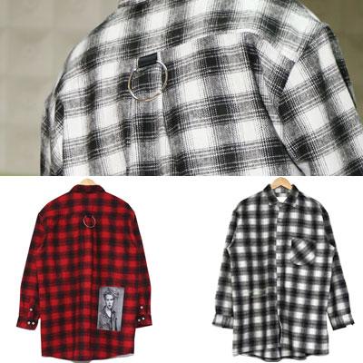 [UNISEX] フォト&リングポイントチェックシャツ(2color)