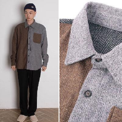 【2XADRENALINE】ヘリンボーンミックスシャツ