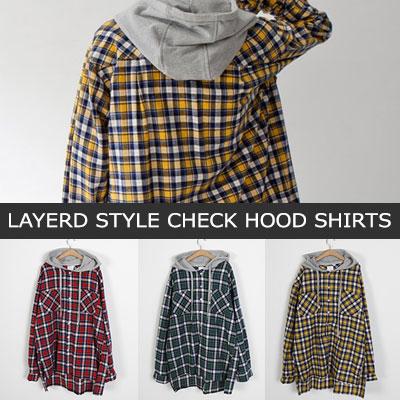 [UNISEX] レイヤードスタイルチェックフードシャツ(3color)
