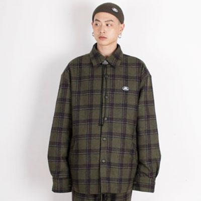 【2XADRENALINE】中綿入りチェックシャツ - KHAKI