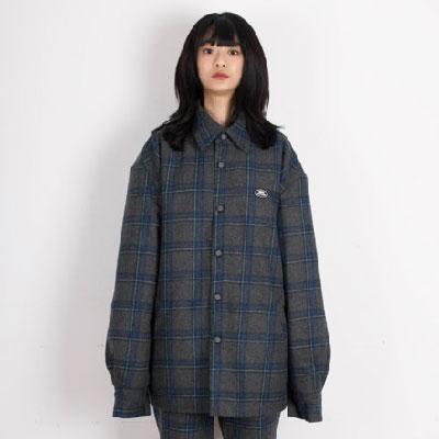 【2XADRENALINE】中綿入りチェックシャツ - GRAY